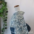 絹紅梅 白地に藍のアザミと蝶 単衣