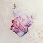 染めオーガンジーのアートピアス|ピンクグラデーション