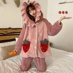 【パジャマ】韓国系可愛いフード付きイチゴ裏起毛スウィートパジャマ25602850