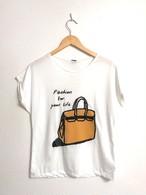 ビーズ&スパンコールのバッグ柄フレンチスリーブTシャツ