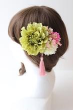 グリーンのダリア、マム、小花髪飾り、コサージュ
