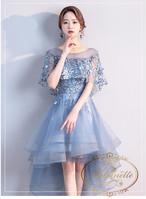 レディース フィッシュテール グレー セミロング ドレス 結婚式 ブライズメイド 可愛い 花柄 オフショル 膝丈 二次会 可愛い フレア フリル丈 ANLD1