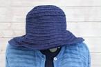藍染絣柄ブレード丸クロッシェ(帽子)K96濃紺チリ絣
