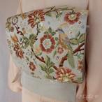 正絹 アイスグレーに花鳥の洒落袋帯