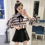 lantern sleeve strip chiffon blouse 1287