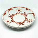 【砥部焼/梅山窯】4.6寸丸皿・切立(赤太陽)