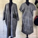 シックで高級感漂う独特な模様 絹100%アンサンブル(コート&ワンピース)20AS001