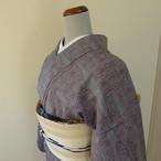 正絹紬 ブルーグレーに赤の麻の葉と流水柄 単衣の着物