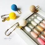 KNIT cotton  ball brooch set