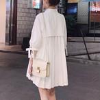 【dress】シャツワンピースエレガント魅力プラスリボン無地