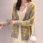 【outer】カーディガンヒョウ柄ファッションニットゆったりアウター