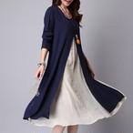 【dress】カジュアルワンピース配色合わせやすいレディースワンピース