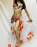 エジプト製 ベリーダンス衣装 ホワイト&オレンジ