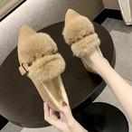 【shoes】ファッション切り替えフェイクファーフラットシューズ24174829