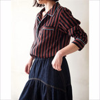 【hippiness】cupro piping stripe long shirt/【ヒッピネス】キュプラ パイピング ストライプ ロング シャツ