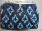 青ビーズビィンテージバック blue color bead vintage bag (made in Japan)(No45)