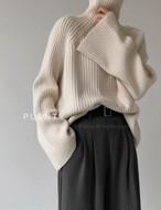 リブプラニット ニット セーター ハイネック タートルネック  韓国ファッション