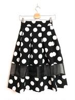 裾シースルーのドット柄スカート ブラック