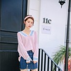hit color v neck wool sweater 2832