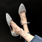 【shoes】セレブ風ポインテッドトゥラインストーンストラップ平底サンダル