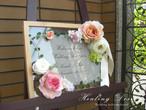 ウェディング ウェルカムボード(ナチュラルウッドフレーム&ピンク)結婚式