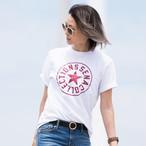 SENA プリント半袖Tシャツ(ホワイト×レッド)