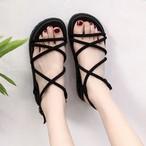 【shoes】ファッション無地透かし彫りサンダル21974577