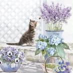【Ambiente】バラ売り2枚 ランチサイズ ペーパーナプキン KITTEN ホワイト×パープル