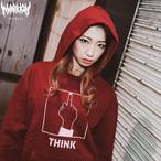 「THINK」Hoodie (バーガンディ×淡いピンク)