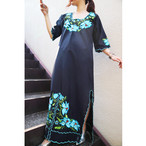 Mexico flower embroidered onepiece