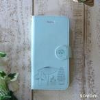 きのこ柄 ウォーターブルー 北欧 手帳型スマホケース iPhone/android