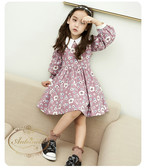 flower onepeace dress autumn fall kids winter party 花柄 秋冬 ワンピ ドレス おでかけ かわいい ピンク 襟つき ワンピ キッズ