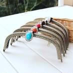 アンティーク ブレンズ がま口バッグ パーツ販売 レトロ コンチョ風がま口 16,5cmミニクラッチバッグ