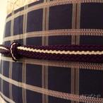正絹 紫に白いラインの帯締め