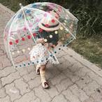 ◎■ 傘 キッズ トドラー 透明傘 フルトン風 アーチ ドーム型 機能的 安全 透明 雨傘 お出かけ 便利 必需品 ドット 1歳 2歳 3歳 4歳 5歳 6歳 7歳 INS 実用的 雨 スタイリッシュ カラフル ホワイトライン インスタ映え 小さい シンプル おしゃれ プレゼント ギフト 出産祝い お祝い