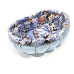 ふーじこちゃんママ手作り ぽんぽんベッド (ライトブルー・デニム風猫柄)Mサイズ