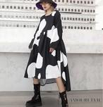 2019 レディース 夏 秋 新作 ワンピース カジュアル 牛柄 ビッグサイズ オーバーサイズ 大きなサイズ モード系 851