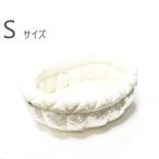 ふーじこちゃんママ手作り ぽんぽんベッド (サテンホワイト・フリースハート柄) Sサイズ