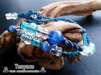 カイヤナイトとブルーアパタイトのダブルビーズマクラメブレスレット