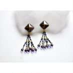 tiravisù【brown ceramic _ clear purple _ earring 】vintage handmade イヤリング japan