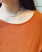 Fresh Pearl × Gold Chain Two Line Necklace