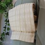 正絹紗 白地に金の縞格子の夏袋帯