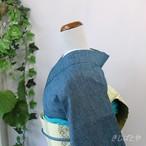 正絹紬 二重緑(ふたえみどり)の縞小紋 単衣