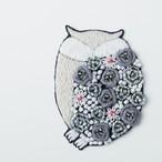 手刺繍シール ししゅール「フクロウ」刺繍ステッカー スマホアクセサリー 花刺繍 ワッペン