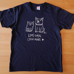 Tシャツ「Love cats Love dogs 1」ネイビー