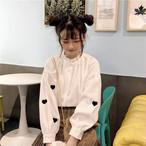 ハート刺繍 スタンドカラー 長袖 ブラウス【16422】