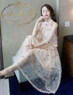レディース 秋 夏 スター スパンコール 星 星柄 マキシ ワンピ クリーム ロングワンピース チュニックワンピース  ノースリーブ 可愛い ゆめかわ