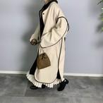 original フェイクウール合皮パイピングコート