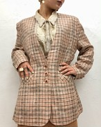 (PAL) plaid no collar jacket