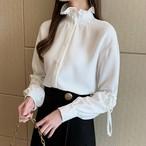 【tops】スタンドネック無地シングルブレストシャツ26681805